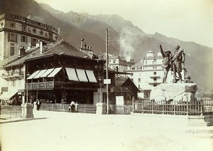 France Alps Chamonix Saussure Monument & Brevent Old Photo Villeneuve 1900