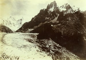 France Alps Chamonix Mer de Glace Glacier Old Photo Villeneuve 1900
