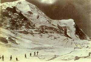 France Alps Chamonix Mont Blanc ascent Hikers Old Photo Villeneuve 1900
