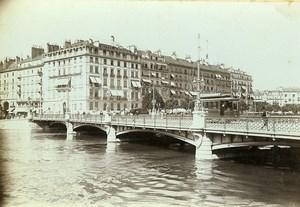 Switzerland Geneva Mont Blanc Bridge Old Photo Villeneuve 1900