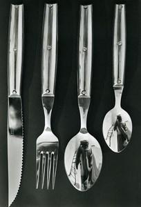 France Publilcité couverts Reflet du Photographe Ancienne Photo 1960