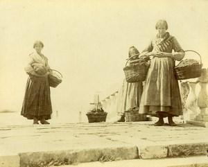 Italie Venise scene de rue animée les commercantes? Paniers Ancienne Photo 1890
