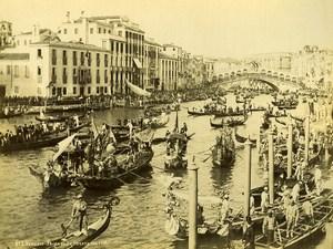 Italie Venise scene animée Régate sur le Grand Canal Ancienne Photo 1891