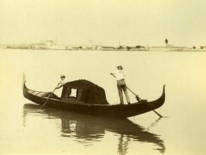 Italie Venise Gondole et Gondolier Gondola Ancienne Photo 1890