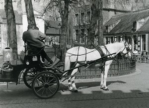 Belgium Bruges Historical Flemish City Horse Carriage Old Photo Deplechin 1970