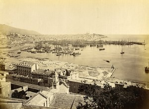 Italy Genova Genoa General view of the city port Old Photo 1880 #1