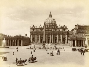 Vatican Roma Rome Piazza San Pietro Horse Carriages Old Photo 1880