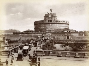 Italy Roma Rome Castel Sant'Angelo & Bridge Old Photo 1880