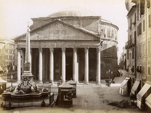 Italie Rome Pantheon d'Agrippa Magasins Kiosques Ancienne Photo 1880