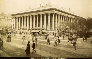 France Paris Stock Exchange Animated Street Scene Old Photo 1890
