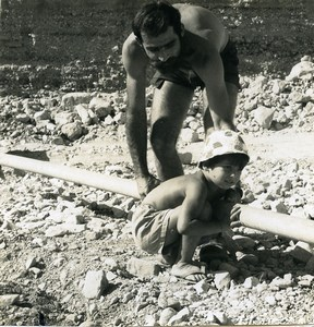 Israel Amiram Little Israeli Boy & Father? Old Photo Francis Maziere 1969