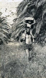 Israel Amiram Little Israeli Boy & Father? Old Photo Francis Maziere 1969