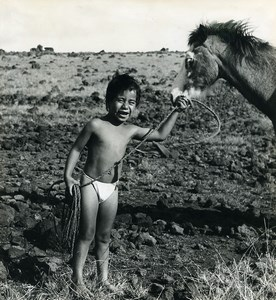 Easter Island Rapa Nui Orongo Young Boy Horse Old Francis Maziere Photo 1965