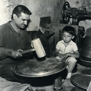 Iran Djafar the little Iranian Metal Dish Maker old Photo Dominique Darbois 1968