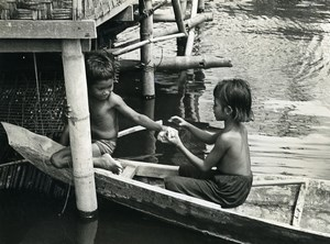 Cambodia Sinoun the Little Cambodian Girl & Boy old Photo Odile Wertheimer 1968