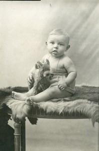France le Chien en Peluche Jeu d'Enfants Jouet Ancienne Photo Amateur 1930