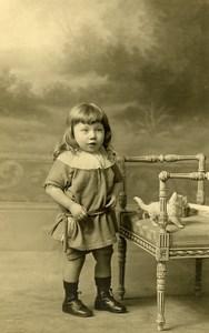 France Lille Petit Chat en Peluche Jeu d'Enfants Ancienne Photo Cayez 1930