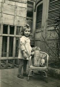 France l'Ours en Peluche Jeu d'Enfants Jouets Ancienne Photo Amateur 1930