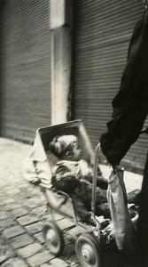 France Lille l'ours en peluche Jouet Jeu d'Enfants Poussette Ancienne Photo Amateur 1950