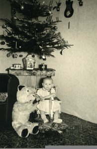 France Ours en Peluche Jeu d'Enfants Sapin de Noel Ancienne Photo Amateur 1950