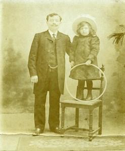France le Cerceau Jeu d'Enfants Pere et Fille Ancienne Photo Amateur 1910