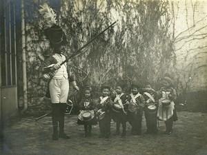 France Orchestre Militaire Tambours Jeu d'Enfants Costumes Ancienne Photo Amateur 1910