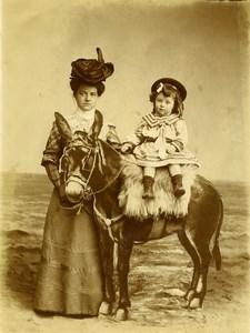 Belgium Oostende Photographer's studio Children Game Donkey Old Photo 1910