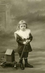 France Lille Cabine de Plage à Tirer Jeu d'Enfants Ancienne Photo Cayez 1920