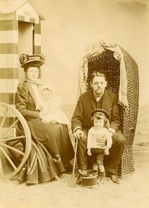 Belgium Oostende Family Posing by Beach Hut Children Game Old Amateur Photo 1900