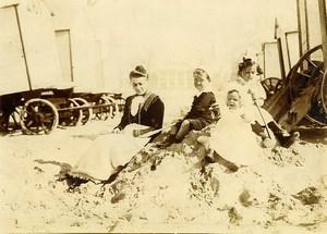 Belgique Ostende Cabines de Plage Jeu d'Enfants Ancienne Photo Amateur 1900