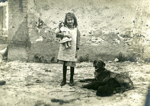France Girl & her Doll & Dog Old Amateur Photo & glass negative 1900