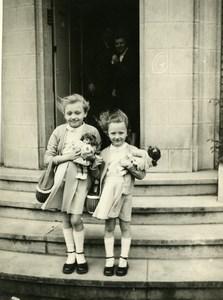 France les Deux Poupées Jeu d'Enfants Ancienne Photo Amateur 1950