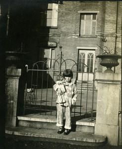 France la Madeleine Fillette et sa Poupée Famille Dewulf Ancienne Photo Amateur 1930