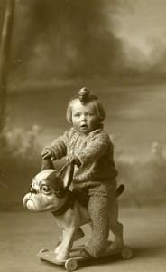 USA San Francisco Chien à Tirer Jeu d'Enfants Jouet Ancienne Photo Alcoy 1930