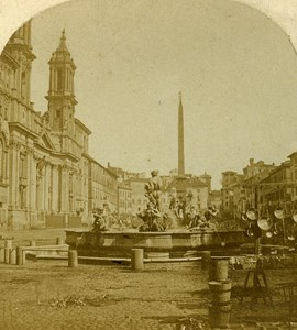Piazza Navona General View Roma Italia Old Stereoview 1859