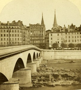 Nemours Bridge Lyon France Old Photo Stereo ca 1858
