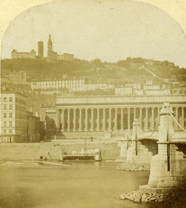 Law Court & Fourvieres Lyon France Old Photo Stereo 1858