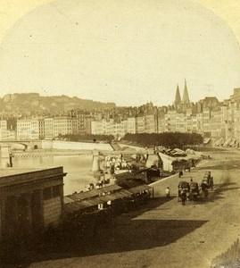 Quai Saint Antoine Lyon France Old Photo Stereo 1858