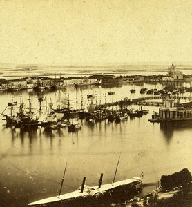 Boats Panorama Venice Italy Old Stereo Photo Furne et Tournier 1859