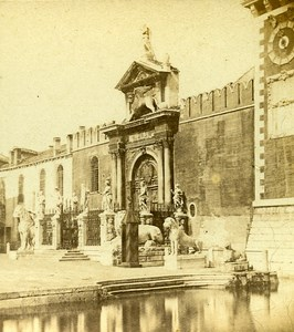 Arsenal Entry Venice Italy Old Stereo Photo Furne et Tournier 1859
