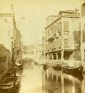 Little Canal Venice Italy Old Stereo Photo Furne et Tournier 1859