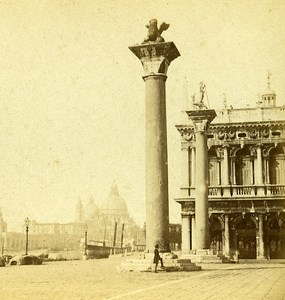 The Piazzetta Venice Italy Old Stereo Photo Furne et Tournier 1859