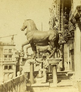 Horses on San Marco Door Venice Italy Old Stereo Photo Furne et Tournier 1859
