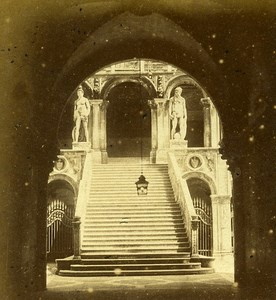 Giants Staircase Venice Italy Old Stereo Photo Furne et Tournier 1859