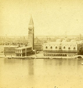 Panorama G Venice Italy Old Stereo Photo Furne et Tournier 1859