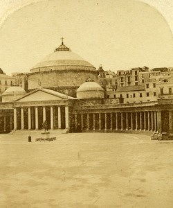 San Francesco di Paola Naples Italy Old Stereo Photo Alexis Gaudin 1859