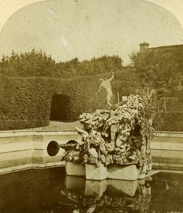 Boboli Garden Fountain Firenze Italy Old Stereo Photo Alexis Gaudin 1859