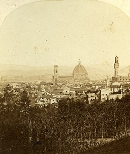 Panorama Firenze Italy Old Stereo Photo Alexis Gaudin 1859