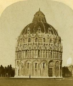 Baptistero Pisa Italy Old Stereo Photo Alexis Gaudin 1859