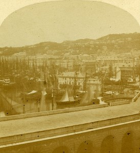 Harbour Boats Genoa Italy Old Stereo Photo Alexis Gaudin 1859
